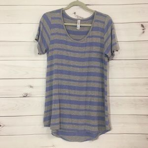#973 M LulaRoe Striped Jersey T Top